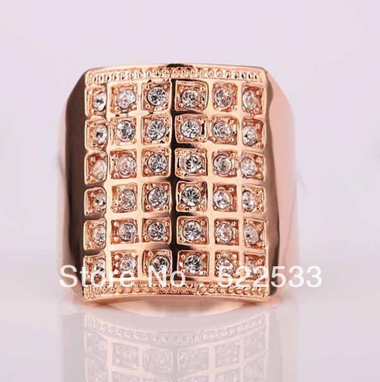 Italina free shipping Accessories 18K rose gold full gem hyperbole big wide Thumb Ring male jewelry RR96(China (Mainland))