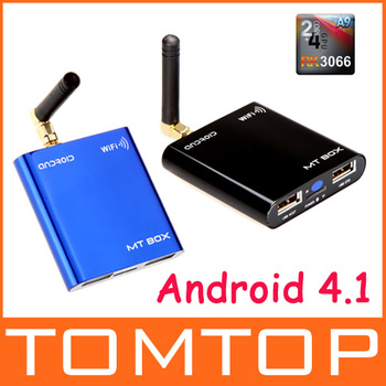 Android 4.1 Smart TV Box Media Player RK3066 Dual-Core Cortex A9 1.6GHz 1080P WiFi HDMI Mini PC 1G DDRIII 4G Blue/Black