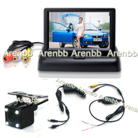 Wireless parking system 4.3Inch Foldable LCD car monitor +Night vision car rear view ccd camera+cigarate lighter adapter AR-766