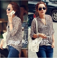 Best selling!!new fashion summer women chiffon shirt korean style thin ladies leopard shirt female blouse free shipping