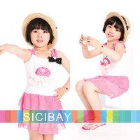 Wholesale Girls Dress Kids Summer Beach Clothes Child Cheap Lovely Bow Sleeveless Dresses,5pcs/lot  Free Shipping K0377