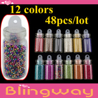 Wholesale free Shipping +420PCS/lot(12 Different Color )Tiny Circle Bead Decoration 3D Nail Art Beads Caviar Nail Art Bottle Set