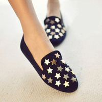 free shipping spring  summer fashion vintage five-pointed star metal rivet fashion round toe flat heel single shoes female shoes
