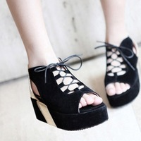 free shipping Shoes open toe shoe platform shoes cross straps platform shoes spring and autumn fashion sandals gladiator