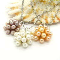 Hot Sale!!12pcs Wholesale Freshwater Pearl Beads Pendants Fashion Mix Color 38cm+3cm Necklace Gift for Women Free Shipping HB597