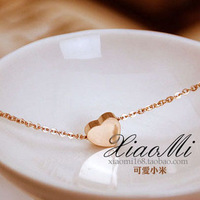 Accessories love shaped rose gold titanium steel necklace female short design small accessories birthday gift