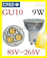 free shipping GU10 9W CREE High power LED Spot Light Bulb Spotlight spot lamp 110v 220v 240v