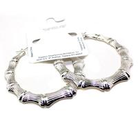 Free shipping! 2014 fashion jewelry acrylic plastic 2.76 inch hoop bamboo earrings silver E247