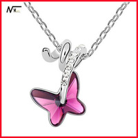 Free Shipping MT13040433 Cute Crystal Butterfly Pendant Necklace 2013 Fashion Models