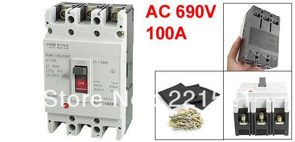 AC 690V 100A 100 Amp 3P 3 Pole moldado do caso disjuntor FLM1-100L / 3300(China (Mainland))