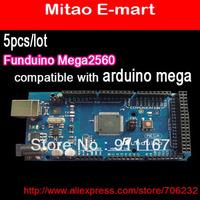 EMS Free Ship For Russia 5pcs/lot Funduino Mega 2560 ATmega2560-16AU Board +USB Cable Compatible with Arduino mega 2560