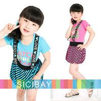 Cool Kids Dress Summer Girls Striped Dress Straped Dress Letters Printed Dress,Free Shipping K0427