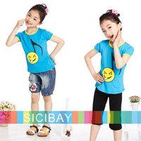 Wholesale cheap girls tops kids Short Sleeve T-shirts Children summer smile print design clothes,7pcs/lot,Free Shipping K0387