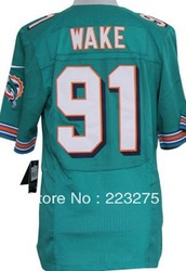 Free shipping ! American football Men's Miami Dolphin #91 Wake Green / White / Orange / Team Color Elite Jerseys(China (Mainland))