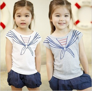 5pcs/lot new arrival fashion girls admiralty bow tie style cotton t-shirt children kids short sleeve T free shipping PL808(Hong Kong)