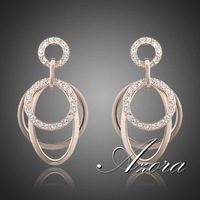 AZORA Polished Circle 18K Rose Gold Plated with Stellux Austrian Rhinestones inlaid Drop Earrings TE0063