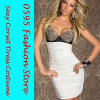 Free Shipping!  Women White Punk Rivets Bra Top Club Dress Sexy Club Wear  HL2680-1
