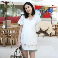 2013 maternity clothing laciness V-neck short-sleeve T-shirt 1010 maternity clothing