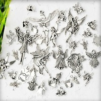 19 Assorted Tiebt Tibetan Silver Angel Fairy Wing Vintage Charm Pendant , Mixed, Sold pkg of 19pcs , 2xTS0621