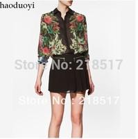 Free Shipping New Spring and Summer women's Popular silk scarf flower print chiffon long-sleeve shirt flower blouse D-427