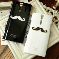 HK Post Free Shipping New Chaplin Sexy Beard handlebar mustache Hard Case Lover couple Hard Cover For Sony Xperia S LT26i