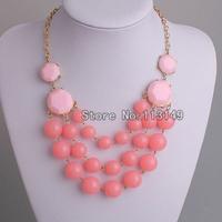 Free Shipping New Fashion Ladies Summer Accessories Pink Acrylic Bead Bib Necklace Bubble Statement Choker Style PBN-074F