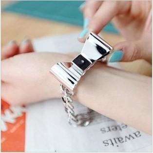RK-078 Fashion Jewelry For Women Large Metal Texture Bow Hinge Metal Bracelet