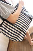 Free shipping!2013 women's bag fashion shoulder bag canvas bag color block navy stripe big bags
