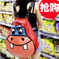 Free shipmwnt 2014 hippopotami bag cartoon casual student school bag backpack female bags