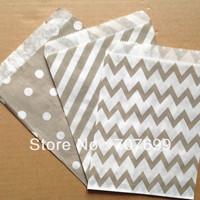 $100 Above Free DHL Shipping 600pcs grey stripe/polka dot/chevron party favor bags paper, treat bags, paper bags