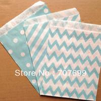 $100 Above Free DHL Shipping 600pcs blue stripe/polka dot/chevron party favor bags paper, treat bags, paper bags