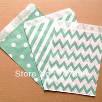 $100 Above Free DHL Shipping 600pcs aqua stripe/polka dot/chevron party favor bags paper, treat bags, paper bags