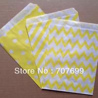 $100 Above Free DHL Shipping 600pcs yellow stripe/polka dot/chevron party favor bags paper, treat bags, paper bags