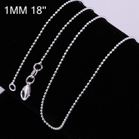 Factory Directly Selling EMS Free Shipping When Total Order >=$200,1MM Width Round Ball Chain Necklace 18Inch Length. C004