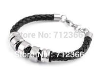 Men's Titanium Stainless Steel Leather Braided Bracelet Jewelry Gift
