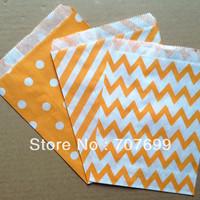 $100 Above Free DHL Shipping 600pcs orange stripe/polka dot/chevron party favor bags paper, treat bags, paper bags