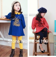 Free shipping 2013 Spring and Autumn Girls spring models Korean cartoon cotton rabbit piece fitted children's long-sleeved dress