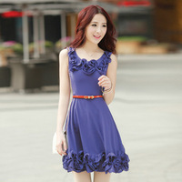 2013 Korean summer new pure ribbon lace waist fashion dress comes with a belt 0817 free shipping