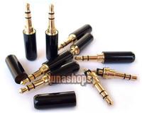 Black 3.5mm Stereo 24k Gold Audio Plug soldering Adapter for Monster   Sennheiser