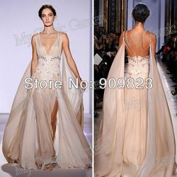 Newest Zuhair Murad Deep V Neck Golden Sequins See-Throug Chiffon A Line Sexy Designer Evening Dresses Gowns 2013(China (Mainland))
