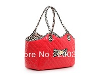 Red Petcares PVC Quilted Embroidery Dogs Carrier Bag Pets fashion bag