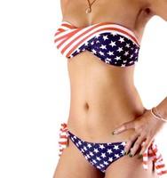 2013 Summer Women Hot Sexy STARS and STRIPES USA Flag Bikini PADDED TWISTED BANDEAU Tube BIKINI AMERICAN Swimwear Free Shipping