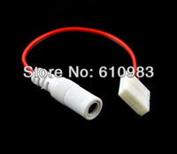 5 pcs/lot 17.5 cm Wholesale White 5.5x2.1 DC Female to 2Pin No Welding Led Strip Connector Adapter For 5050 Free shipping