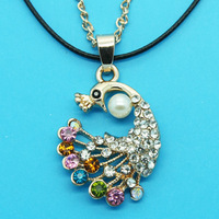 Min Order 12$ high quality,2013 new arrival,colorful rhinestone peacock necklace,fashion necklaces,double chain XL0426