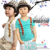 2014 summer cute children clothing clothes cotton v neck kids boys suspenders t-shirt short sleeve t shirt 3T-8