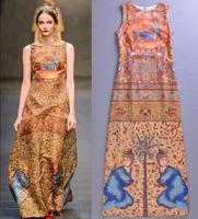 Quality assurance 2013 women now arrive print casual catwalk long dress long and silk