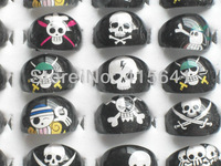 New style Lots 50pcs resin Lucite Skull Black Cute Fashion Child Kid's rings free shipping