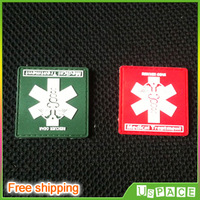 RESCUER Savior Medical aid Military PVC Patch Velcro(2 Piece/lot,red+green) Rubber Patches personality Velcro rubber Velcro