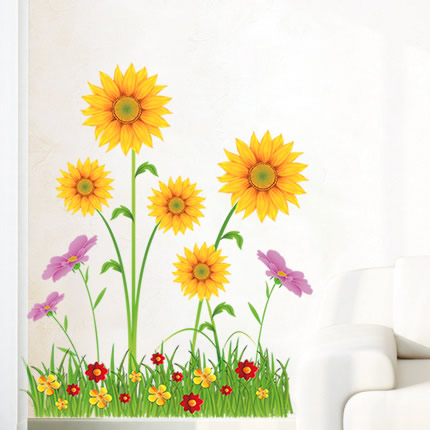 3 PIECES for Free Shipping Ihome three-dimensional wall stickers sunflower butterfly tijuexian(China (Mainland))