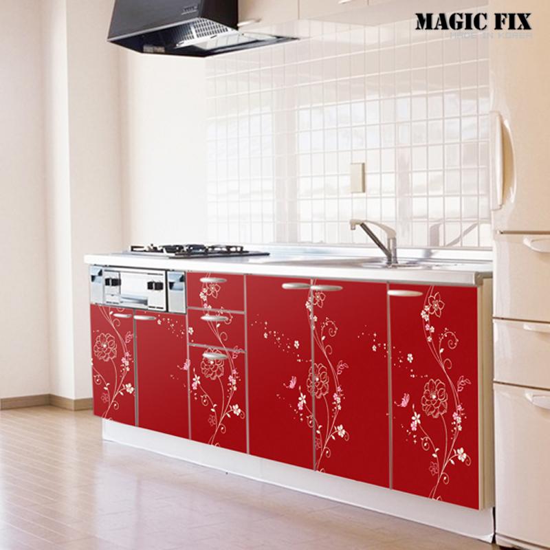 Promoci n de muebles de cocina color rojo compra muebles - Pegatinas para cocinas ...